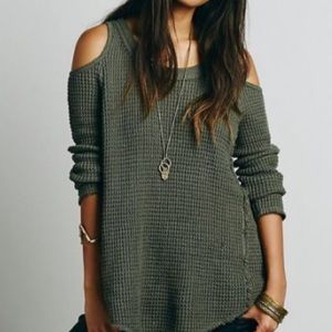 Free People Open Shoulder Knit Sweater